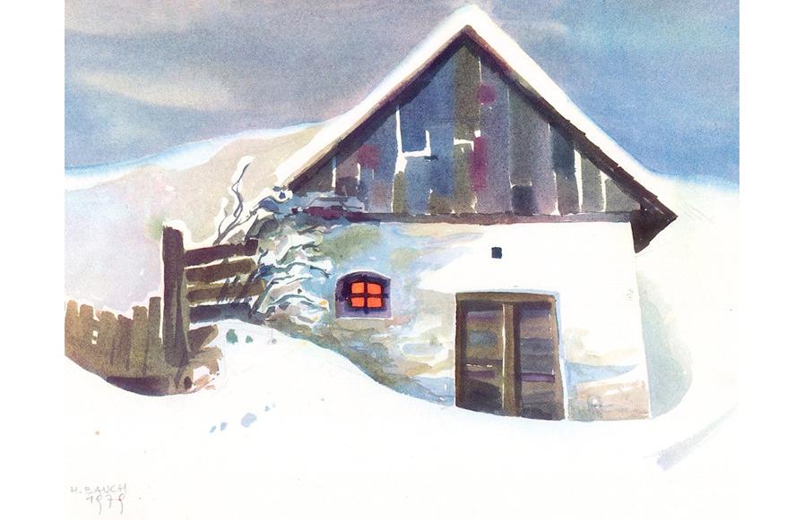 Weinkeller im Winter